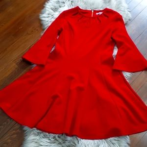 Red 3/4 sleeve fit and flare midi dress
